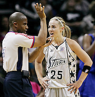 San Antonio's Becky Hammon (25) complains to the referee during Game 2 of the WNBA Finals between the Detroit Shock and the San Antonio Silver Stars, Oct. 3, 2008, at the AT&T Center in San Antonio. Detroit won 69 - 61 to go up 2 - 0 in the best-of-five series. (Darren Abate/pressphotointl.com)