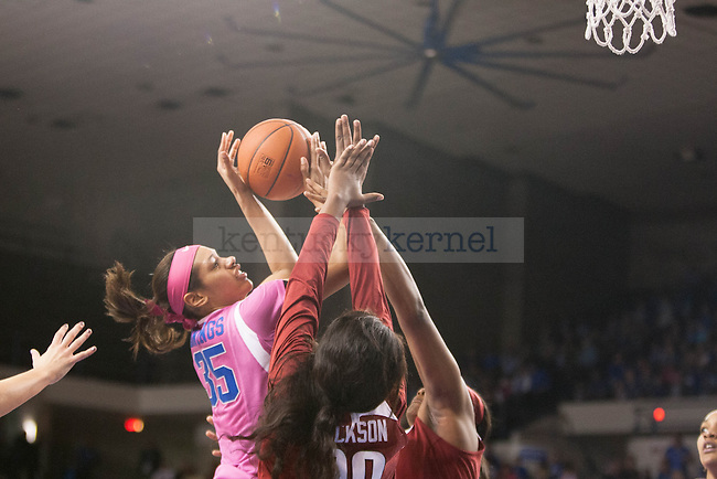 Sophomore Alexis Jennings (35) shoots the ball in traffic during the game against the Arkansas Razorbacks on Sunday, February 21, 2016 in Lexington, Ky. Kentucky won the game 77-63. Photo by Hunter Mitchell | Staff