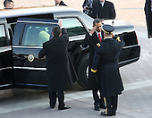 Washington, DC - January 20, 2009 -- United States President Barack  Obama salutes before entering his limo after being sworn is as the 44th President of the United States of America on the West Front of the Capitol Tuesday, January 20, 2009 in Washington, DC. Obama becomes the first African-American to be elected to the office of President in the history of the United States. .Credit: John Moore - Pool via CNP