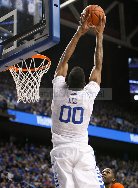 UK forward Marcus Lee (00) skies up for an alley-oop during the UK Men's Basketball vs. Florida Gators game at Rupp Arena. Saturday, February 6, 2016 in Lexington, Ky. UK defeated Florida 80 - 61