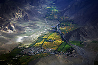 Aerial View over Tibet, China near Lhasa