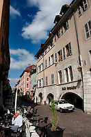 The Saint-Maurice street in Annecy, capital of the Haute-Savoie department (France, 22/06/2010)