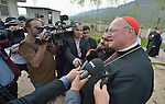 Cardinal Timothy Dolan, the archbishop of New York and chair of the Catholic Near East Welfare Association, speaks to local journalists in Inishke, Iraq, on April 10, 2016. Cardinal Dolan came to Iraqi Kurdistan with other church leaders to visit with Christians and others displaced by ISIS. Along with other church leaders, he celebrated Mass in the village's Chaldean Catholic church with local residents and displaced Christians living in local villages.<br /> <br /> CNEWA is a papal agency providing humanitarian and pastoral support to the church and people in the region.