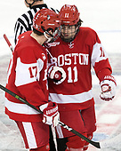 Dante Fabbro (BU - 17), Patrick Curry (BU - 11) - The visiting Boston University Terriers defeated the Boston College Eagles 3-0 on Monday, January 16, 2017, at Kelley Rink in Conte Forum in Chestnut Hill, Massachusetts.