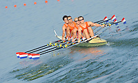 Brest, Belarus.  NED M4X, Bow, Thijs VAN LUIJK, Rube KNAB, Philip Van de LINDE and Daan BRUEHL, at the start, 2010. FISA U23 Championships. Friday,  23/07/2010.  [Mandatory Credit Peter Spurrier/ Intersport Images]