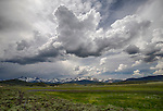 Idaho, South central, SNRA, Stanley.  Dramatic afternoon cloud action in late spring in the Sawtooth National Recreation Area.