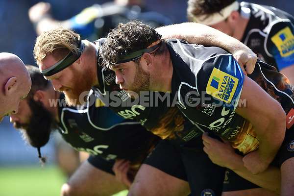 Nathan Catt of Bath Rugby prepares to scrummage against his opposite number. The Clash, Aviva Premiership match, between Bath Rugby and Leicester Tigers on April 8, 2017 at Twickenham Stadium in London, England. Photo by: Patrick Khachfe / Onside Images
