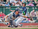 9 July 2015: Vermont Lake Monsters outfielder Steven Pallares slides home safely on a tag-up play in the 4th inning against the Mahoning Valley Scrappers at Centennial Field in Burlington, Vermont. The Lake Monsters rallied to tie the game 4-4 in the bottom of the 9th, but fell to the Scrappers 8-4 in 12 innings of NY Penn League play. Mandatory Credit: Ed Wolfstein Photo *** RAW Image File Available ****
