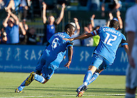 Ike Opara (6) runs to celebrate his goal with Ramiro Corrales (12). The San Jose Earthquakes tied DC United 1-1 at Buck Shaw Stadium in Santa Clara, California on July 3rd, 2010.