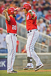 28 May 2016: Washington Nationals second baseman Daniel Murphy (left) and first baseman Ryan Zimmerman celebrate Zimmerman's 2nd inning home run against the St. Louis Cardinals at Nationals Park in Washington, DC. The Cardinals defeated the Nationals 9-4 to take a 2-games to 1 lead in their 4-game series. Mandatory Credit: Ed Wolfstein Photo *** RAW (NEF) Image File Available ***
