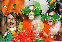 17/03/2011.(L to R) Orla Riordan (11), Clare Wade (11) & Ellen Wade (11) all from Drumcondra.during the St. Patrick's Day festival in Dublin's City Centre..Photo: Gareth Chaney Collins