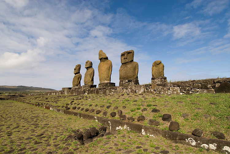 Chile, Easter Island: Statues or moai on a platform or ahu, called Ahu Tahai, near the town of Hanga Roa..Photo #: ch222-33605.Photo copyright Lee Foster www.fostertravel.com lee@fostertravel.com 510-549-2202