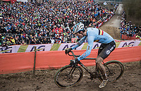 Wout Van Aert (BEL/Crelan-Willems) plowing through the mud<br /> <br /> Elite Men's Race<br /> UCI 2017 Cyclocross World Championships<br /> <br /> january 2017, Bieles/Luxemburg