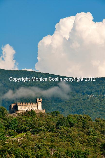 The Sasso Corbaro castle, the smaller of three castles in Bellinzona, Switzerland