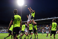 Forwards compete for the ball at a lineout. Pre-season friendly match, between Leinster Rugby and Bath Rugby on August 26, 2016 at Donnybrook Stadium in Dublin, Republic of Ireland. Photo by: Patrick Khachfe / Onside Images