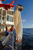 Scientists raising a plankton net onto a scientific research ship.