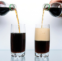WARM SODA FOAMS MORE THAN COLD SODA: 3 of 3<br /> Demonstration Of Solubility Warm soda pop fizzes more than cold soda pop because the solubility of the dissolved carbon dioxide decreases with increasing temperature.