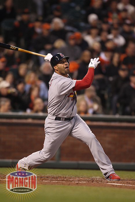 SAN FRANCISCO - APRIL 9:  Albert Pujols #5 of the St. Louis Cardinals bats against the San Francisco Giants during the game at AT&T Park on April 9, 2011 in San Francisco, California. (Photo by Brad Mangin)
