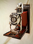 Kodak Brownie folding camera with red bellows &amp; Kolios shutter