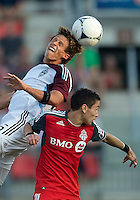 18 July 2012: Colorado Rapids midfielder Wells Thompson #15 and Toronto FC midfielder Eric Avila #8 in action during an MLS game between the Colorado Rapids and Toronto FC at BMO Field in Toronto, Ontario..Toronto FC won 2-1..