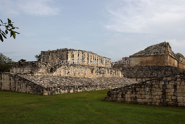 Ball Court, with the Acropolis in the distance, Ek Balam (?Black Jaguar? in Maya), flourished during the Late Classic period between 700 and 1200 AD, Yucatan, Mexico. Picture by Manuel Cohen
