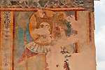 Detail of a fresco on the facade of the 11th century church of S. Agata in Moltrasio, a town on Lake Como, Italy