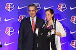 16 January 2015: Whitney Church (Penn State), with NWSL commissioner Jeff Plush, was selected 30th overall by the Washington Spirit. The National Women's Soccer League Draft was held at the Pennsylvania Convention Center in Philadelphia, Pennsylvania.