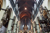 BRUGES, BELGIUM - FEBRUARY 07 : A low angle view of the rood screen and the choir of the church of Our Lady on February 07, 2009 in Bruges, Western Flanders, Belgium. The church of Notre Dame was built in the 13th and 14th centuries. (Photo by Manuel Cohen)