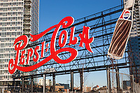 The historic Pepsi-Cola sign in Gantry Plaza State Park in Long Island City, Queens, New York