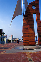 Metal sculptures on the Malecon 2000 pedestrian walkway on the restored waterfront area of Guayaquil, Ecuador
