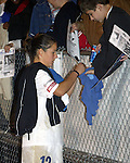 Sarah Kate Noftsinger signs autographs at Legion Stadium in Wilmington, North Carolina on 3/8/03 after a preseason game between the Carolina Courage and Washington Freedom