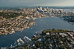 Aerial view of the Seattle skyline with Lake Union and Sailboats