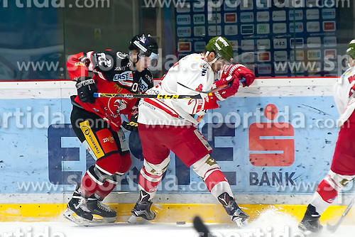 28.12.2015, Ice Rink, Znojmo, CZE, EBEL, HC Orli Znojmo vs HCB Suedtirol, 36. Runde, im Bild v.l. David Bartos (HC Orli Znojmo) Marco Insam (HCB Sudtirol) // during the Erste Bank Icehockey League 36nd round match between HC Orli Znojmo and HCB Suedtirol at the Ice Rink in Znojmo, Czech Republic on 2015/12/28. EXPA Pictures © 2015, PhotoCredit: EXPA/ Rostislav Pfeffer
