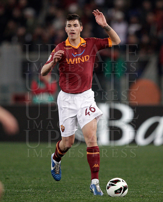Calcio, Serie A: Roma vs Genoa. Roma, stadio Olimpico, 3 marzo 2013..AS Roma defender Alessio Romagnoli in action during the Italian Serie A football match between AS Roma and Genoa at Rome's Olympic stadium, 3 March 2013..UPDATE IMAGES PRESS/Riccardo De Luca