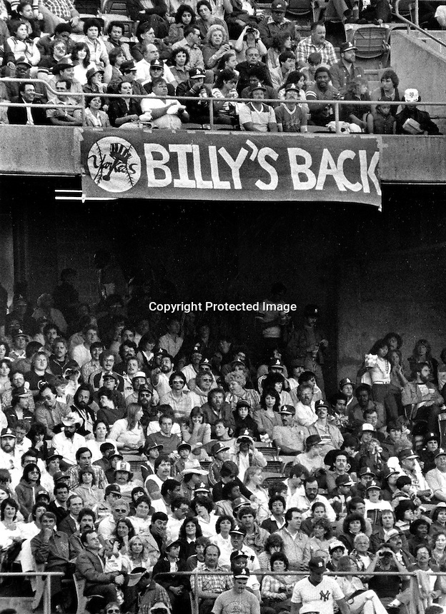 Sign hanging from the second deck of the Oakland Alameda County Coliseum welcoming the return of the  Oakland Athletics popular manager Billy Martin and the New York Yankees. Martin managed the A's in 1981 and 1982 and returned to the Yankee's in 1983. (photo by Ron Riesterer)