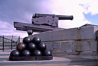 Gun (Cannon) and Cannon Balls on Rampart, Fort Henry National Historic Site (UNESCO World Heritage Site) (built 1832 to 1837), Kingston, Ontario, Canada