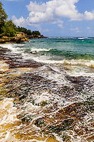 The rocky Maha'ulepu shoreline, Poipu, Kaua'i.