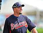 6 March 2012: Atlanta Braves outfielder Eric Hinske awaits his turn in the batting cage prior to a Spring Training game against the Washington Nationals at Champion Park in Disney's Wide World of Sports Complex, Orlando, Florida. The Nationals defeated the Braves 5-2 in Grapefruit League action. Mandatory Credit: Ed Wolfstein Photo