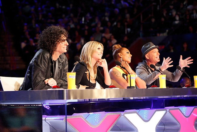 "Judges for season eight of the NBC's ""America's Got Talent,"" from left, Howard Stern, Heidi Klum, Mel B, and Howie Mandel during auditions in New Orleans."
