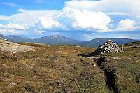På veg inn i Skarvene og Roltdalen nasjonalpark. Alle skal visstnok legge en stein på varden på Høgfjellet. Foto: Bente Haarstad
