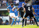 St Johnstone v Dundee...13.09.14  SPFL<br /> Brian Graham's shot is blocked by Thomas Konrad<br /> Picture by Graeme Hart.<br /> Copyright Perthshire Picture Agency<br /> Tel: 01738 623350  Mobile: 07990 594431