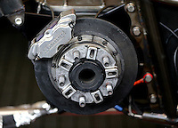 Aug 19, 2016; Brainerd, MN, USA; Detailed view of the rear end and brake disk and calipers on the dragster of NHRA top fuel driver Morgan Lucas during qualifying for the Lucas Oil Nationals at Brainerd International Raceway. Mandatory Credit: Mark J. Rebilas-USA TODAY Sports