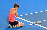 Tsvetana Pironkova of Bulgaria reacts after defeating Angelique Kerber of Germany during their final match at the Sydney International tennis tournament, Jan. 10, 2014.  Daniel Munoz/Viewpress IMAGE RESTRICTED TO EDITORIAL USE ONLY