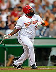 11 July 2008: Washington Nationals' first baseman Dmitri Young in action against the Houston Astros at Nationals Park in Washington, DC. The Nationals shut out the Astros 10-0 in the first game of their 3-game series...Mandatory Photo Credit: Ed Wolfstein Photo
