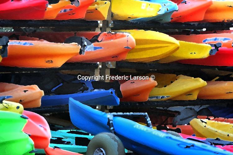 Kayak boats stacked up on racks in Sausalito, California.