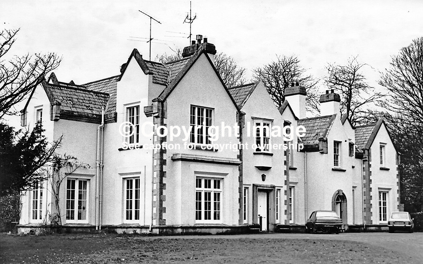 The home of Lord Faulkner of Downpatrick, aka Brian Faulkner, Ulster Unionist MP and sometime Prime Minister of N Ireland. He was also First Minister of the short-lived power sharing N Ireland Assembly. He was the sixth and last Prime Minister of N Ireland. He lived near Seaford, Co Down. 197703037890<br /> <br /> Copyright Image from Victor Patterson,<br /> 54 Dorchester Park, Belfast, UK, BT9 6RJ<br /> <br /> t1: +44 28 90661296<br /> t2: +44 28 90022446<br /> m: +44 7802 353836<br /> <br /> e1: victorpatterson@me.com<br /> e2: victorpatterson@gmail.com<br /> <br /> For my Terms and Conditions of Use go to<br /> www.victorpatterson.com
