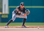 7 March 2016: Miami Marlins infielder Miguel Rojas warms up prior to a Spring Training pre-season game against the Washington Nationals at Space Coast Stadium in Viera, Florida. The Nationals defeated the Marlins 7-4 in Grapefruit League play. Mandatory Credit: Ed Wolfstein Photo *** RAW (NEF) Image File Available ***