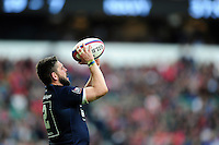 LA(H) Ben Priddey of the Royal Navy looks to throw into a lineout. Babcock Inter-Services Championship match between the British Army and the Royal Navy on April 30, 2016 at Twickenham Stadium in London, England. Photo by: Patrick Khachfe / Onside Images