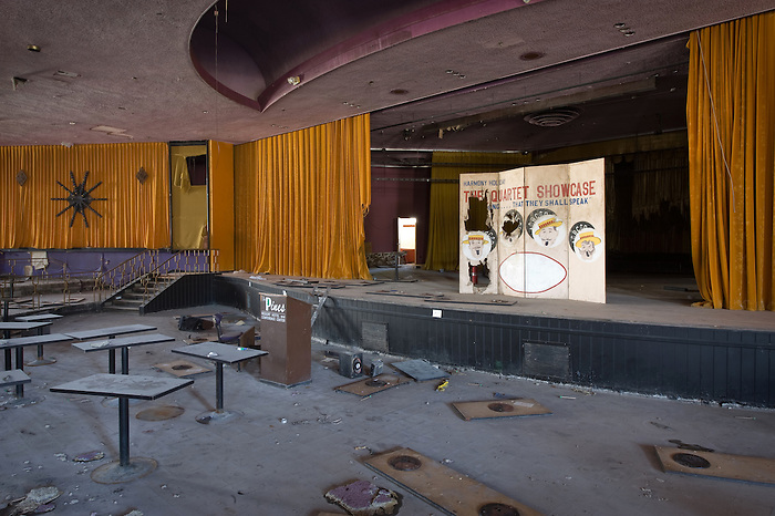 The interior of an abandoned Resorts Theater Stage.
