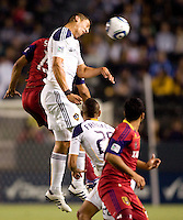 LA Galaxy defender Omar Gonzalez (4) clears a ball. The LA Galaxy defeated Real Salt Lake 2-1 at Home Depot Center stadium in Carson, California on Saturday April 17, 2010.  .